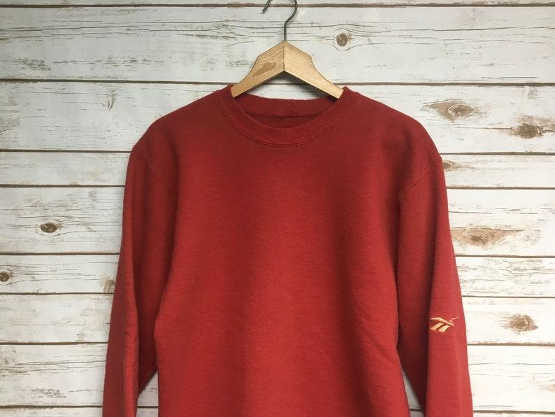 68ec101d Vintage 90's Reebok crewneck sweatshirt Red plain blank Reebok athletics  crew neck sweatshirt Reebok shoes Made in USA - Medium