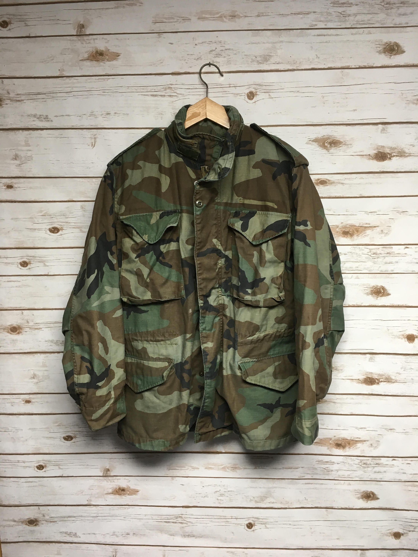 Vintage Camo M-65 field jacket Od Green army coat 70 s  1e13a021fa6