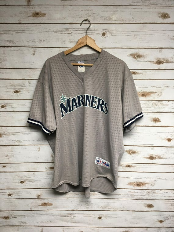 the best attitude 38f0f 59b0d Vintage 90's Seattle Mariners baseball jersey Majestic Made in USA Dark  Gray Mariners pullover mesh jersey baseball jersey - XL