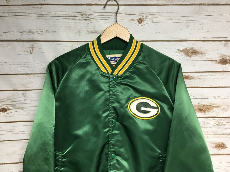 the latest 943eb a12ba Vintage 70's Green Bay Packers Chalk Line Lined satin Jacket Embroidered  Packers football That 70's Show Style snap button - Medium