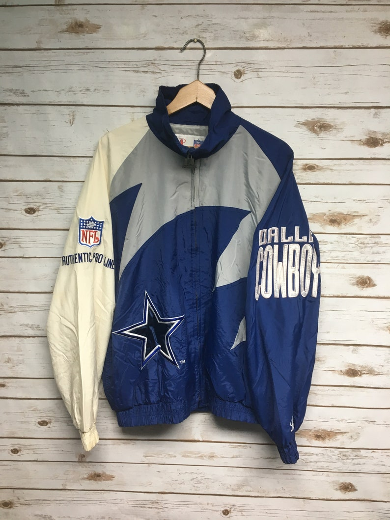 sports shoes 0d42b cac3d Vtg 90's Dallas Cowboys Logo Athletic windbreaker jacket Pro Line Jacket  embroidered Cowboys football jacket stained - Large