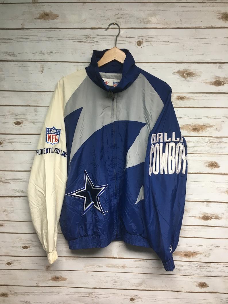 sports shoes f5c14 53850 Vtg 90's Dallas Cowboys Logo Athletic windbreaker jacket Pro Line Jacket  embroidered Cowboys football jacket stained - Large