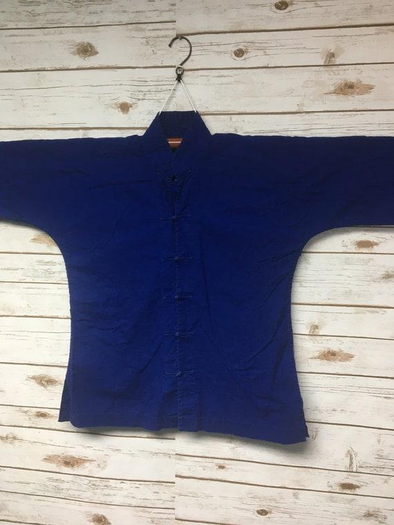 Vintage 70/'s Chinese Farmer Shirt Indigo workwear Traditional Chinese Asian peasant hippie boho mandarin collar blouse  Women/'s SmallMedium