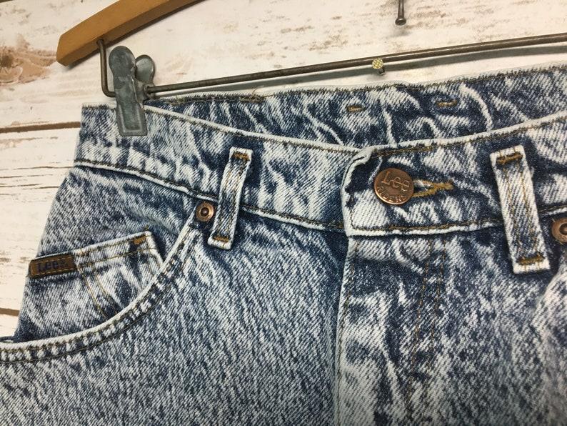26.5 x 29.5 Vintage 80/'s Women/'s Lee Riders Acid wash denim jeans boyfriend cut high waist mom jeans high waisted festival boho hippie