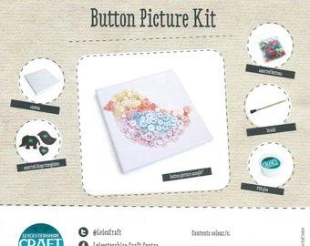 Button Art Kit - Children's Craft Kit - Beginners Craft Kit - Kids Art Kit, DIY Crafts, Gift, Button Picture, Templates Materials & Tools