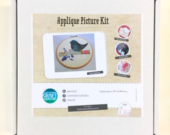 Applique Kit - Make Your Own Applique Picture - Bird Picture, Craft Kit, Machine Sewing Kit, DIY Craft, Gift, Beginners Sewing Project