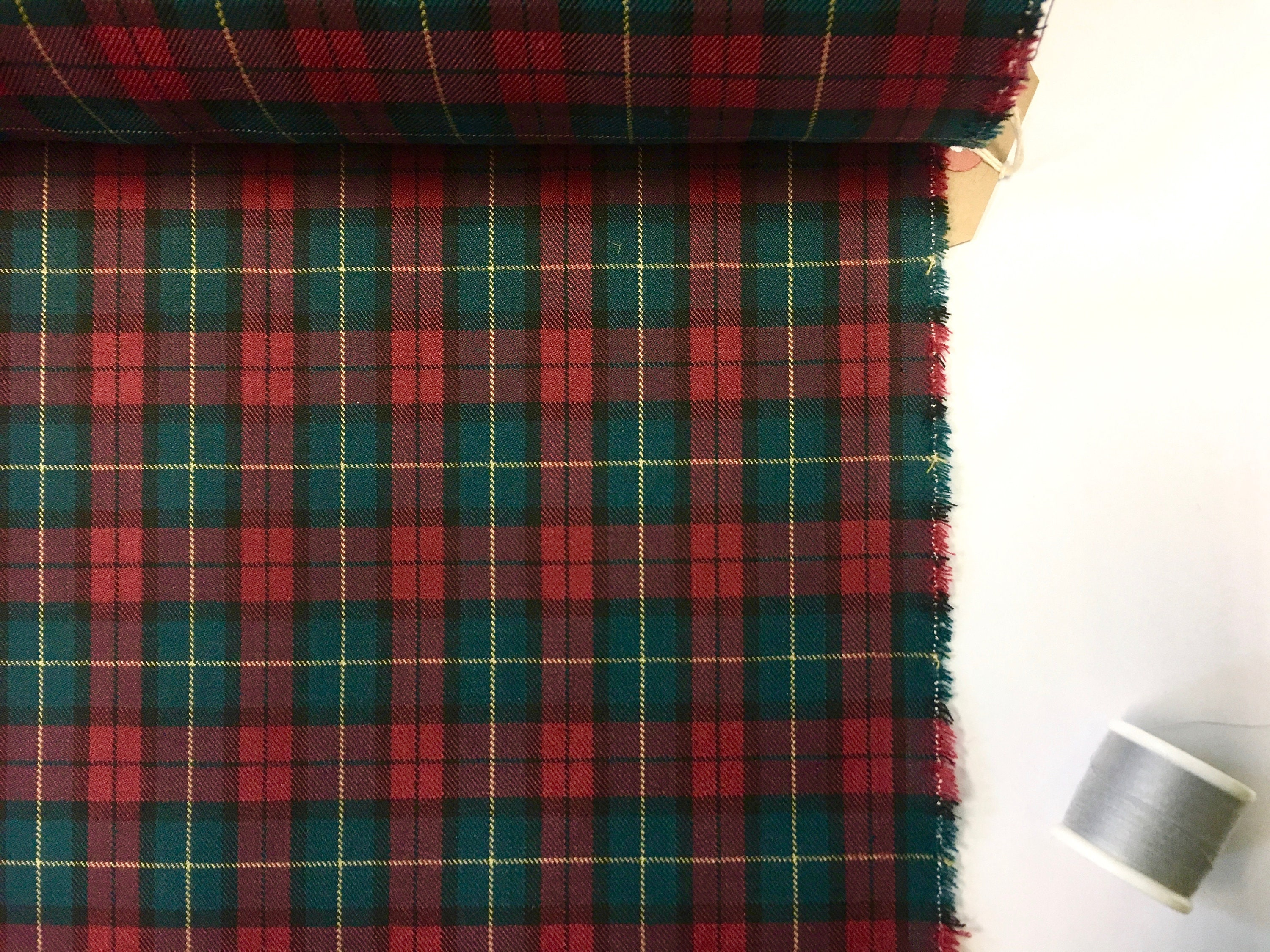 Wool Mix Fabric Red Black and Cream Check 150cm