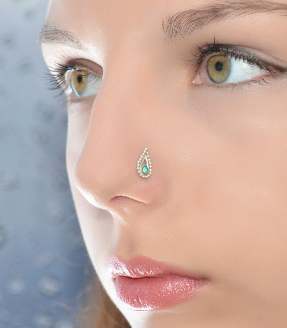 Emerald Nose Stud Gold Cartilage Stud Cartilage Earring Etsy