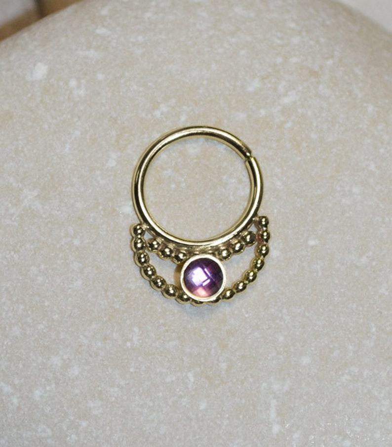 Forward Helix Earring 3mm Amethyst SEPTUM RING  Gold Nose Ring Hoop 18 gauge Nipple Jewelry Septum Hoop Daith Piercing