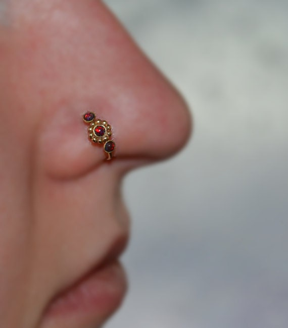 Gold Flower Nose Ring 2mm Opal Nose Ring Hoop 18g Rook Etsy