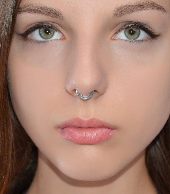 Septum Ring Silver Septum Piercing Small Nose Ring Etsy