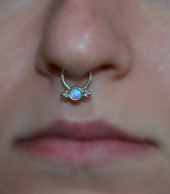 3mm Opal Septum Ring Silver Septum Piercing Small Nose Etsy