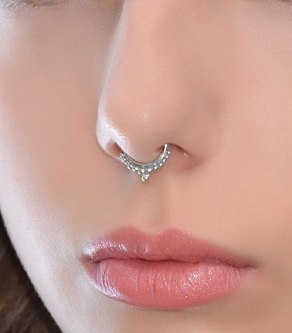 Cartilage Ring SEPTUM RING  Silver Septum Piercing Small Nose Ring Nose Hoop Daith Earring Septum Jewelry 18g Tragus Hoop