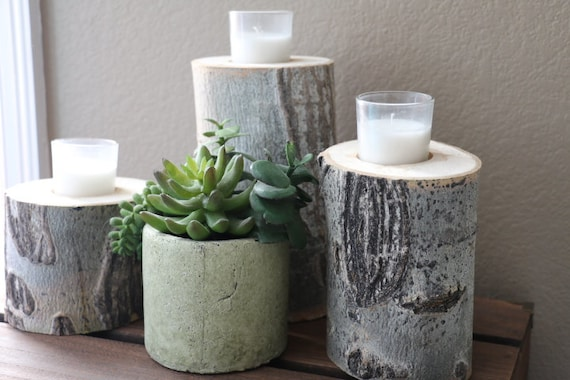 Rustic Wedding Home Decor Table Decor Set of 3 Aspen Wood Candle Holders