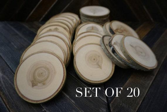 DIY Wedding Tree Log Coasters Rustic Wedding Decor Set of 20 4-4.5 Wood Slices Wood Discs Tree Slices Wedding Favors