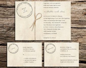Printable Wedding Invitation Customized Template – Postcard Suite