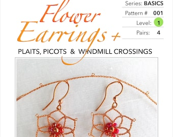 Flower Earrings - Pattern & Tutorial for Wire Lace :  Step-by-Step Instruction, 25 pages with 74 detail photographs - PDF Instant Download -