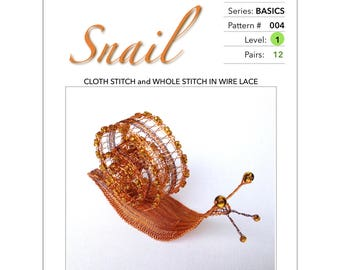Snail - Pattern & Tutorial for Wire Lace :  Step-by-Step Instruction, 24 pages with 66 detail photographs  PDF Instant Download -