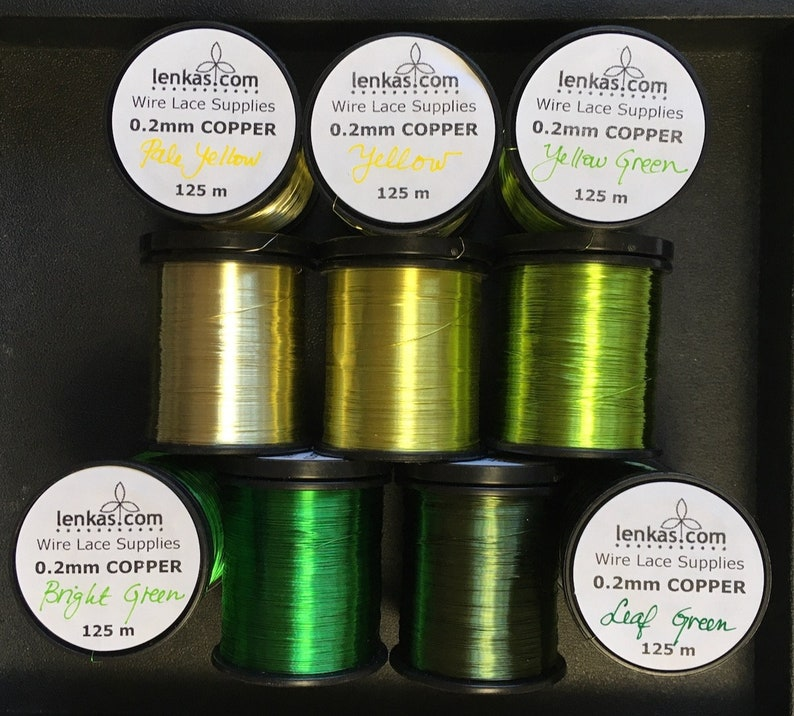 GREEN or YELLOW Copper Wire size 0.2 mm 32ga 1 SPOOL 125m image 0