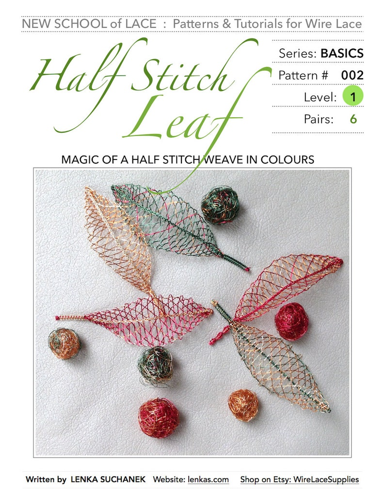 Half Stitch Leaf  Pattern & Tutorial for Wire Lace : image 0