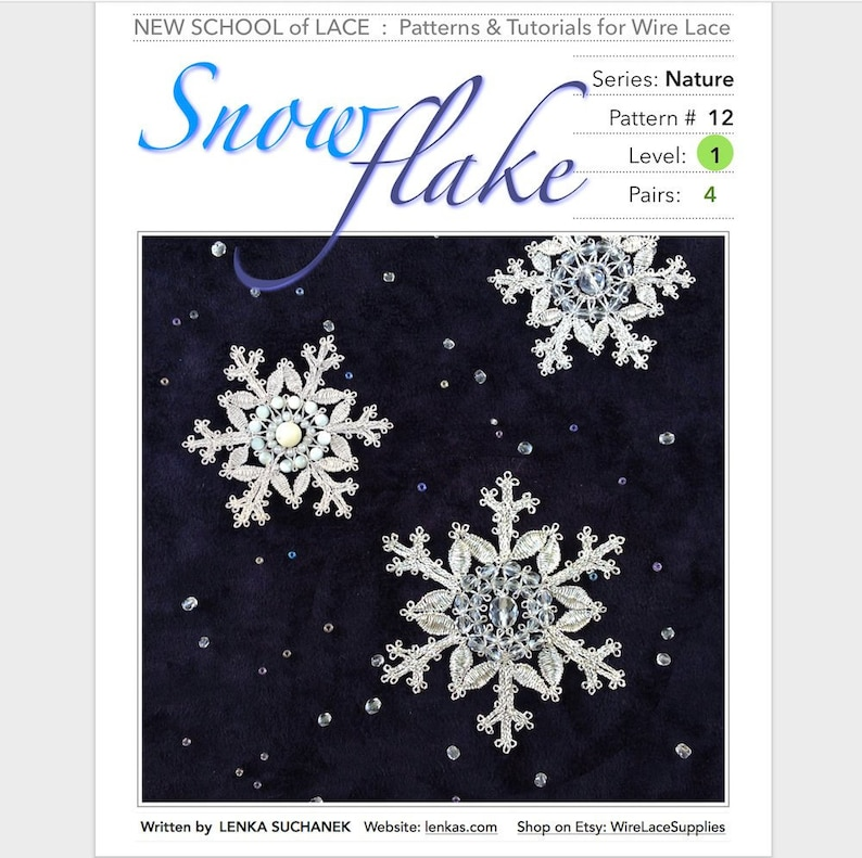Snowflake  Pattern & Tutorial for Wire Lace :  Step-by-Step image 0