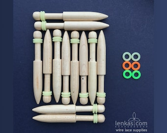 Lenka's  FINE Bobbins for Wire Lace - set of 12 pcs (6 pairs) - superb bobbin for delicate lacework with precious metals, copper and steel