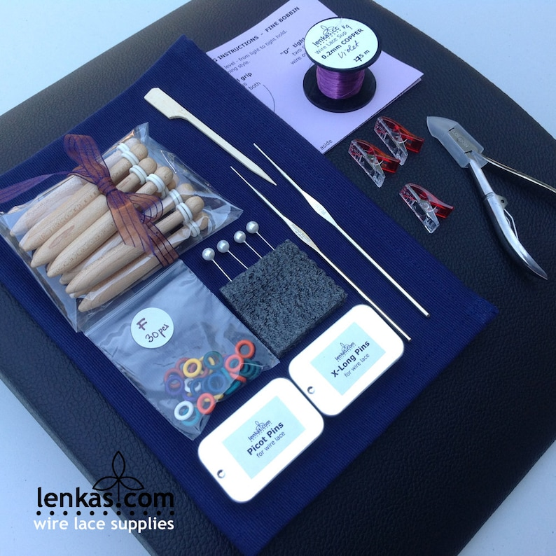 Student Wire Lace Kit with FINE Bobbins pillow pins hook image 0