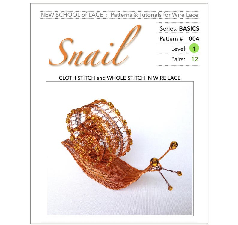 Snail  Pattern & Tutorial for Wire Lace :  Step-by-Step image 0