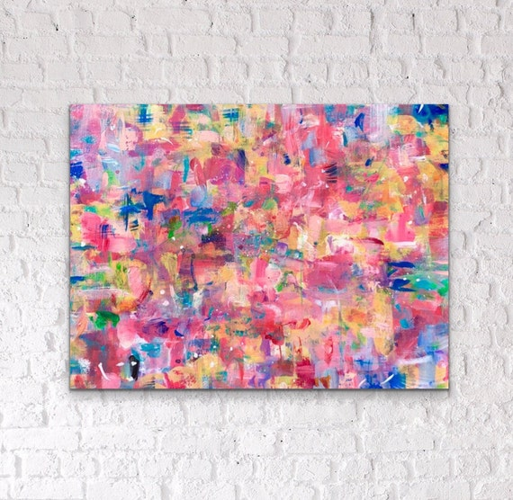 Abstract Splatter Texture Pink /& Yellow Wall Art Canvas Print Picture A2 A1 A0
