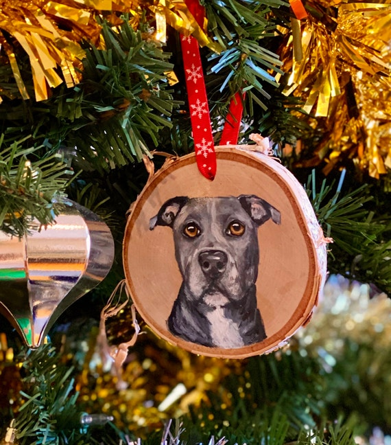 Custom pet ornament personalized pet memorial gift dog loss gift pet portrait from photo wood slice ornament handmade Mothers day gift from