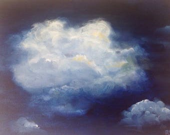 Cloud painting canvas. Small cloud painting. Contemporary art. Abstract cloud painting. Night painting. Sky landscape. Storm sky painting