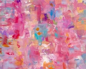 Pink abstract art. Small Original abstract art. Modern abstract art. Contemporary abstract.  Bold pink art. Girl's art. Canvas Wall art