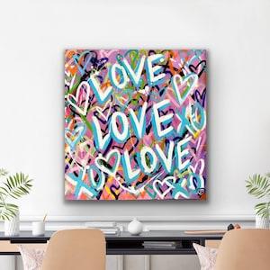 Nursery Decor Modern Canvas Colorful Pop Heart Art Original Pink Love Abstract Painting Contemporary Teen Wall Art Graffiti Canvas