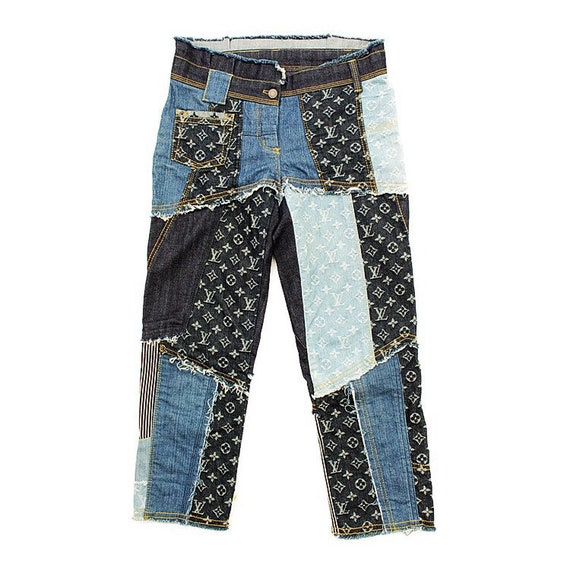 RARE!Louis Vuitton LV patchwork bule cotton cloth