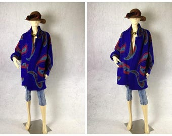 80's vintage Paisley Pattern wool sweater coat