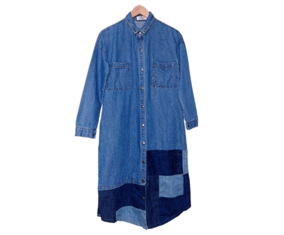 80's vintage art patchwork denim dress