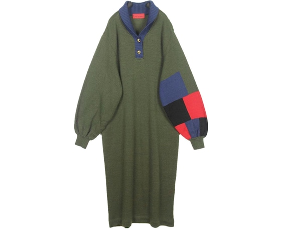 Beautiful vintage olive green patchwork long sweat