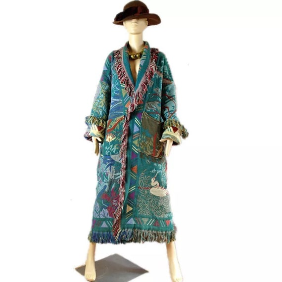 1980s vintage Tapestry blanket long coat