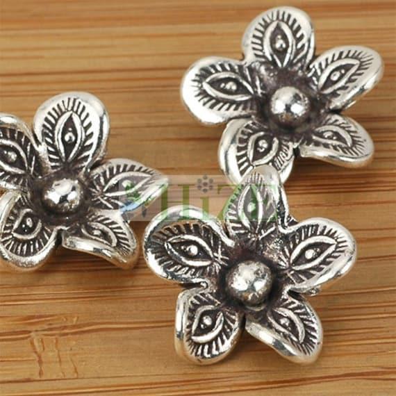 HIZE SC305 Thai Karen Hill Tribe Silver Tribal Flower Disc Shield Pendants 40mm