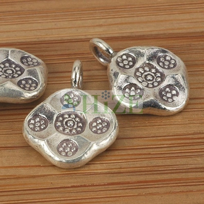 4 HIZE SC236 Thai Karen Hill Tribe Silver Tribal Flower Floral Diamond Charms 12mm