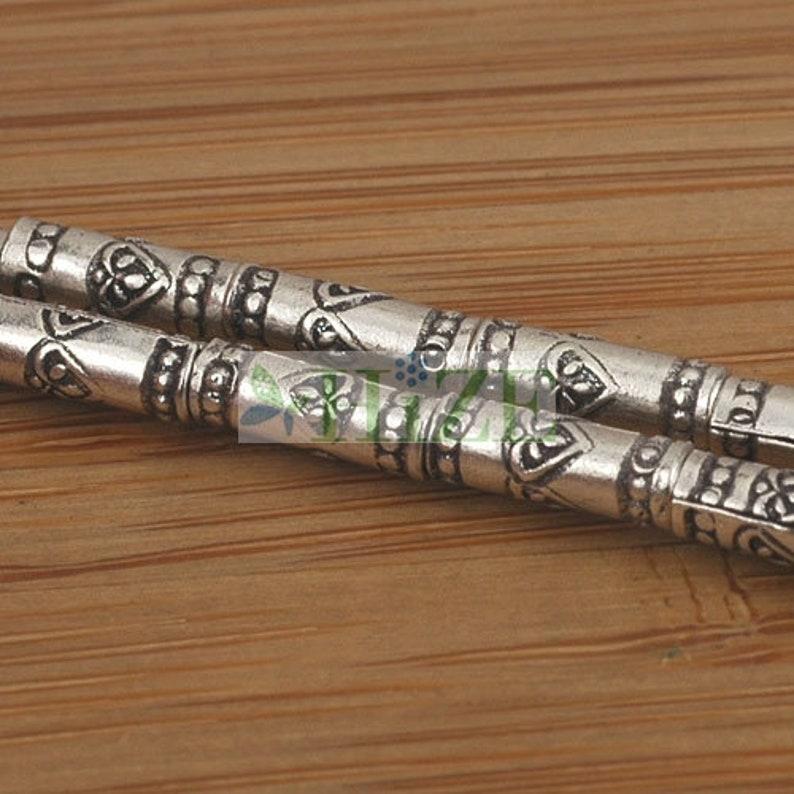 14 HIZE SB068 Thai Karen Hill Tribe Silver Tribal Heart Love Print Tube Beads 3mm