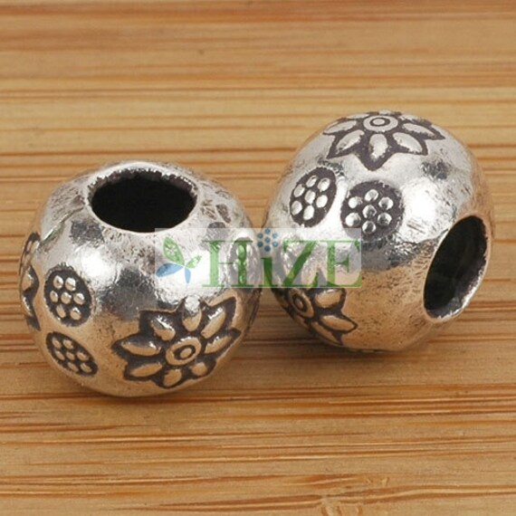 4 HIZE SB169 Thai Karen Hill Tribe Silver Flower Wavy Disc Coin Focal Beads 17mm