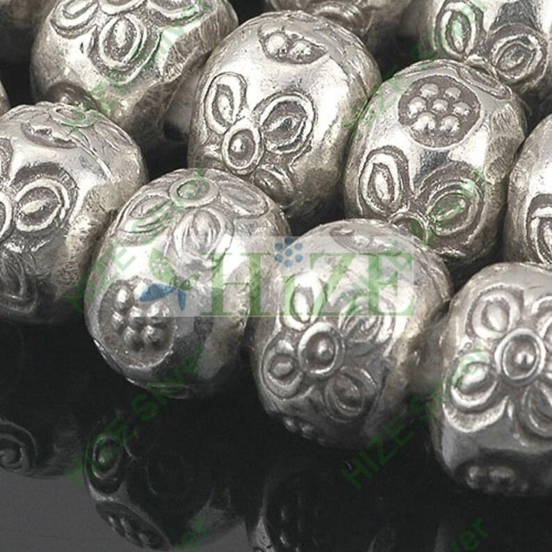 10 HIZE SB311 Thai Karen Hill Tribe Silver Flower Large Rotund Rondelle Beads 9mm