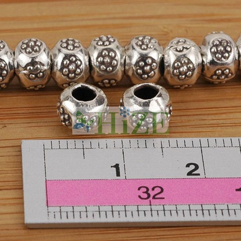 HIZE SB661 Thai Karen Hill Tribe Silver Daisy Flower Rondelle Roller Beads 7mm 14