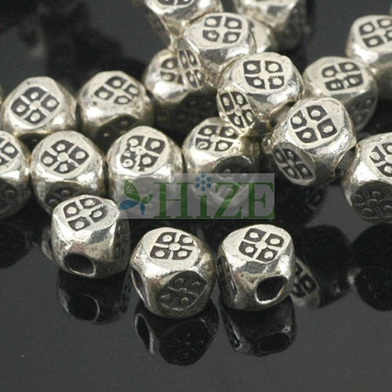 HIZE SB447 Thai Karen Hill Tribe Silver Diamond Print Nugget Solid Square Cube Beads 5mm 10
