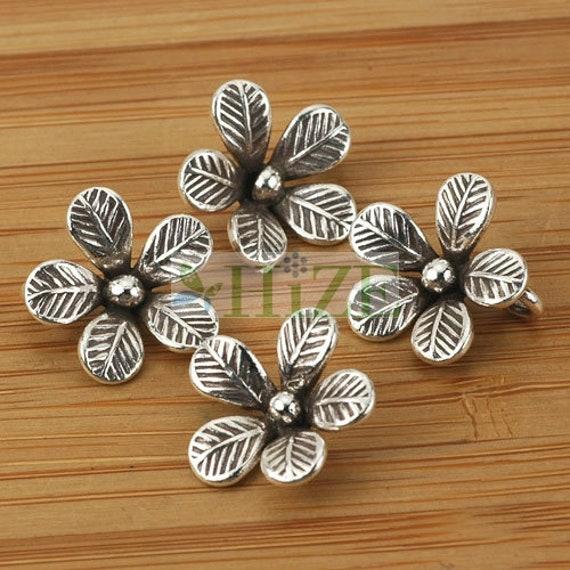 HIZE SF214 Thai Karen Hill Tribe Silver Budding Rose Flower Dangle Charms 12mm 2