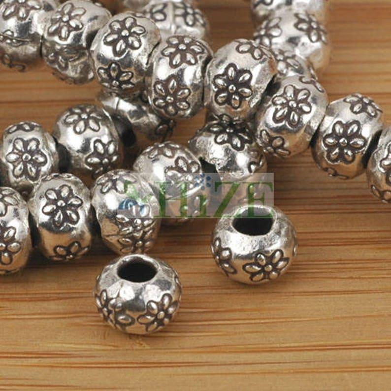 HIZE SB060 Thai Karen Hill Tribe Silver Daisy Flower Rondelle Roller Beads 7mm 12