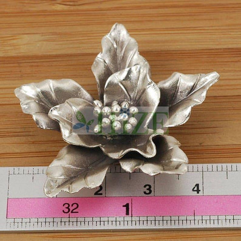 HIZE SF166 Thai Karen Hill Tribe Silver Tribal Iris Flower Pendant 43mm