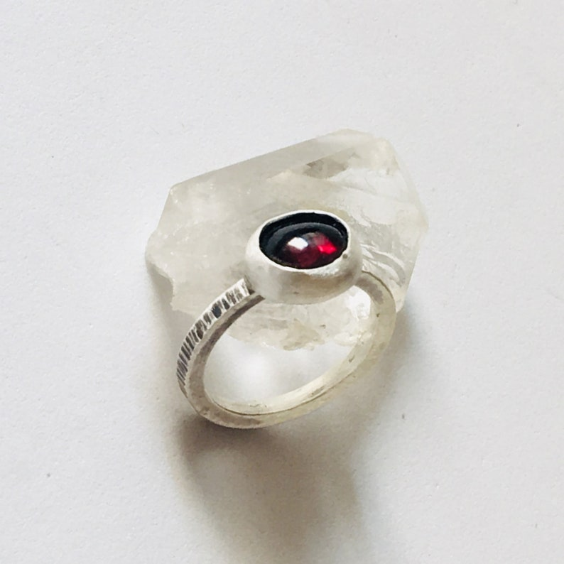Garnet sterling silver thin stack ring size 6 34