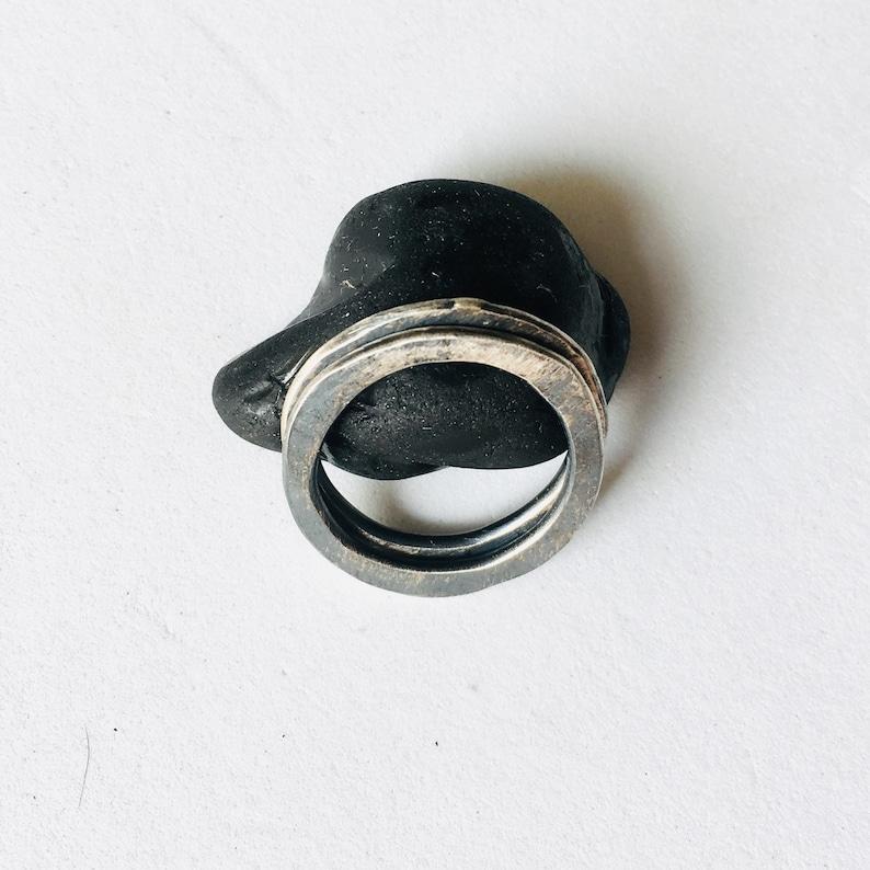2 Sterling silver irregular stack  rings